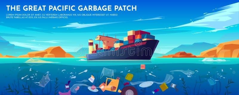 Πλαστικό έμβλημα μπαλωμάτων απορριμάτων Ειρηνικών Ωκεανών, απορρίμματα ελεύθερη απεικόνιση δικαιώματος