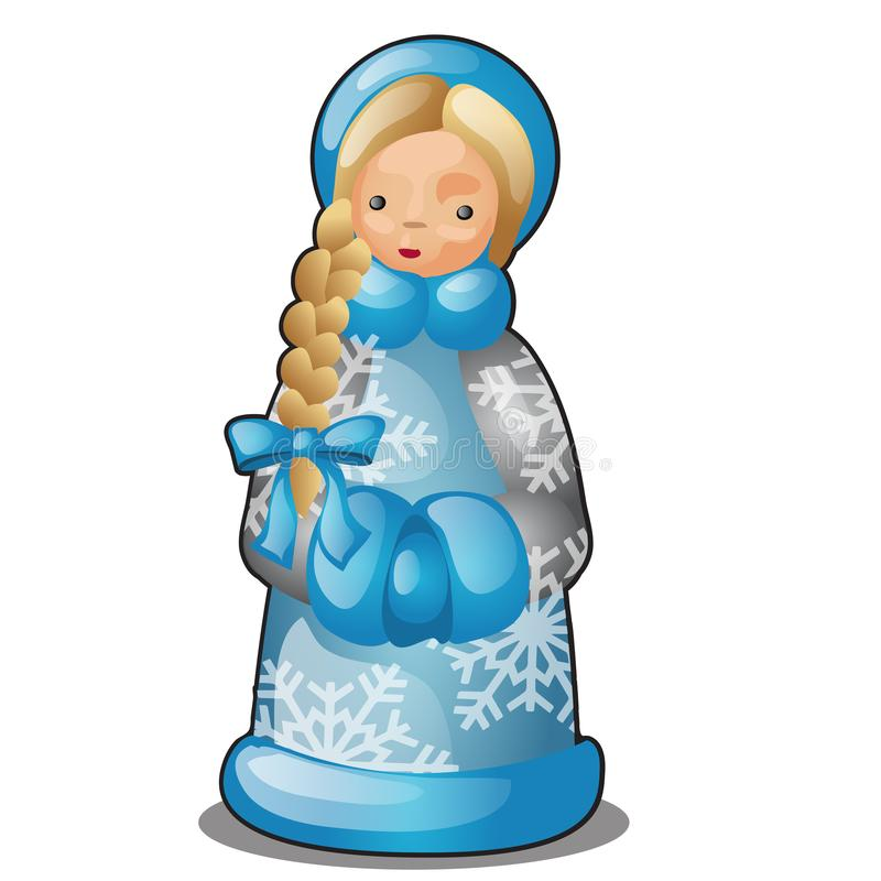 Πλαστικό ή κεραμικό ειδώλιο υπό μορφή κοριτσιού χιονιού που απομονώνεται στο άσπρο υπόβαθρο Δείγμα της αφίσας, διακοπές κομμάτων απεικόνιση αποθεμάτων