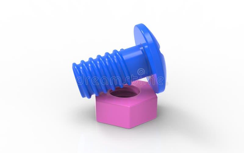 Πλαστικό ζεύγος καρυδιών παιχνιδιών μπλε και ρόδινο διανυσματική απεικόνιση