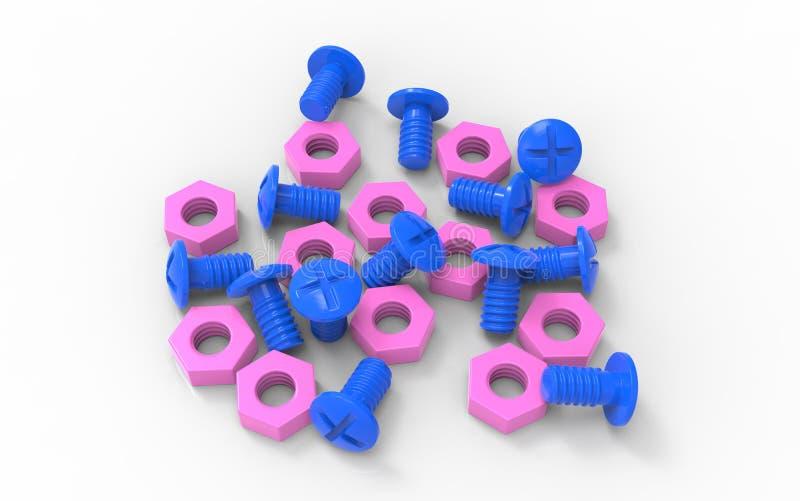 Πλαστικό ζεύγος καρυδιών παιχνιδιών μπλε και ρόδινο ελεύθερη απεικόνιση δικαιώματος