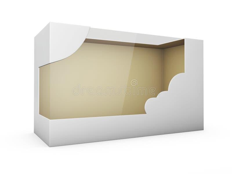 Πλαστικό κιβώτιο συσκευασίας χαρτονιού προϊόντων με το παράθυρο η τρισδιάστατη απεικόνιση απομόνωσε το λευκό απεικόνιση αποθεμάτων
