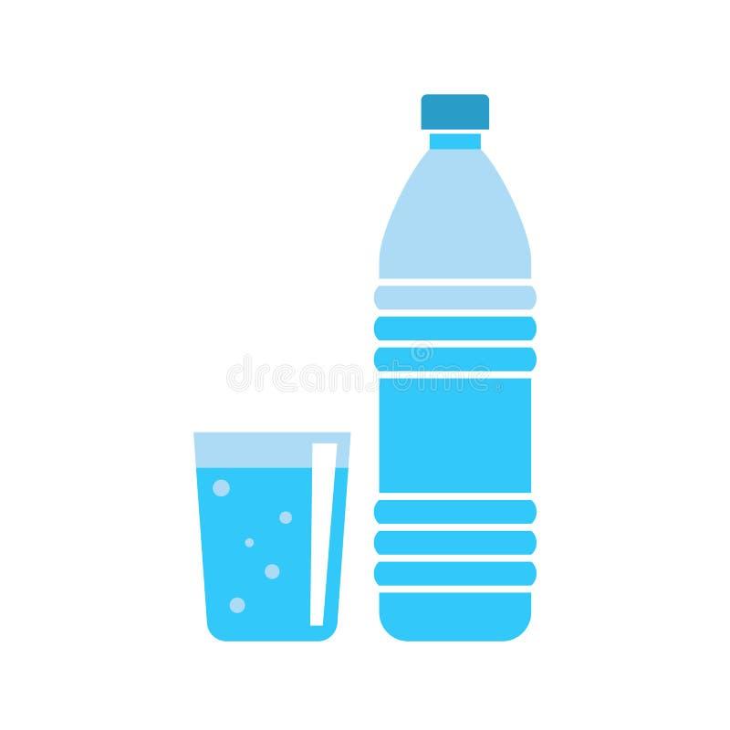 Πλαστικό μπουκάλι νερό - εμπορευματοκιβώτιο ποτών - φρέσκο μεταλλικό νερό - επίπεδη διανυσματική απεικόνιση που απομονώνεται στο  ελεύθερη απεικόνιση δικαιώματος