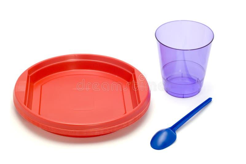πλαστικό πιάτο φλυτζανιών στοκ φωτογραφία με δικαίωμα ελεύθερης χρήσης