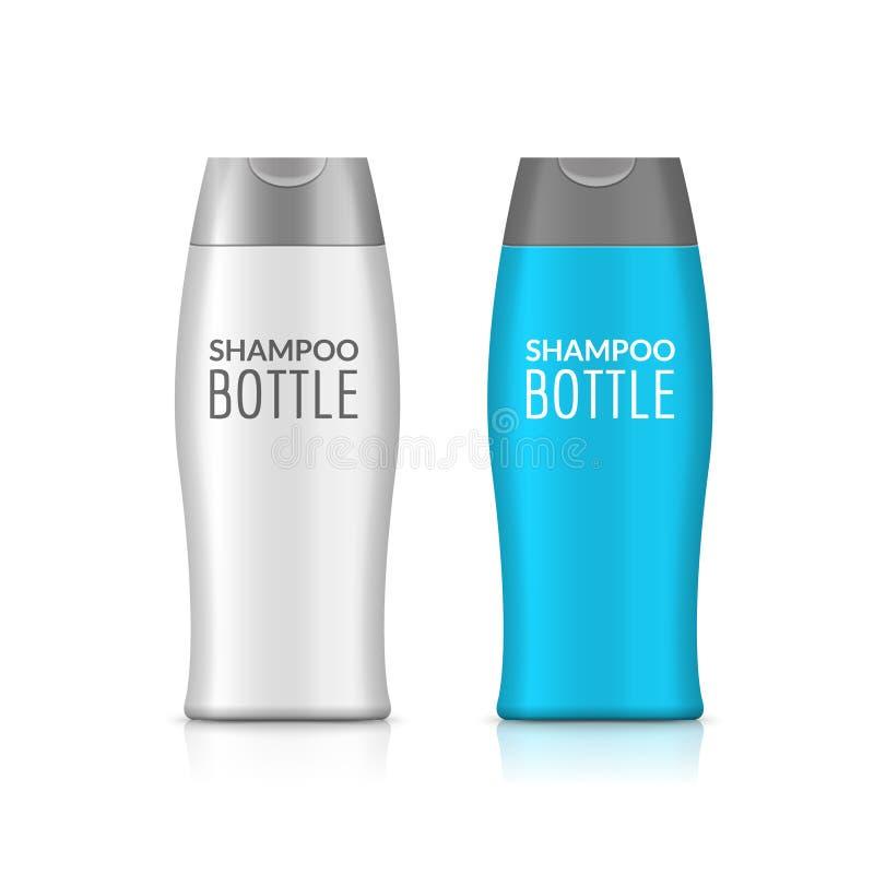 Πλαστικό σχέδιο προτύπων μπουκαλιών σαμπουάν ή μπουκαλιών πηκτωμάτων ντους Διανυσματική κενή χλεύη επάνω Προσοχή λουτρών κρέμας ή ελεύθερη απεικόνιση δικαιώματος