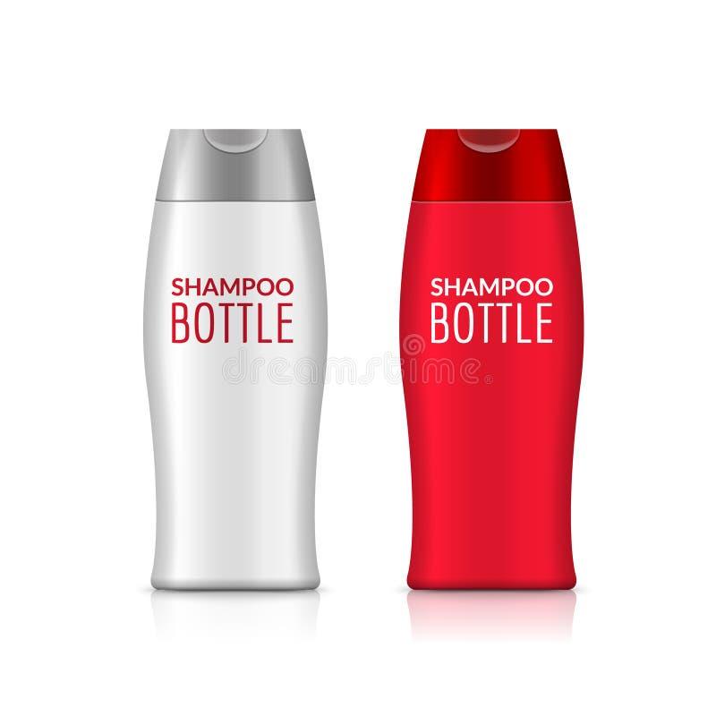 Πλαστικό σχέδιο προτύπων μπουκαλιών σαμπουάν ή μπουκαλιών πηκτωμάτων ντους Διανυσματική κενή χλεύη επάνω Προσοχή λουτρών κρέμας ή διανυσματική απεικόνιση
