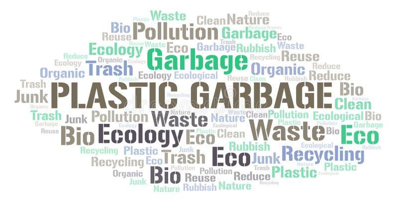 Πλαστικό σύννεφο λέξης απορριμάτων απεικόνιση αποθεμάτων