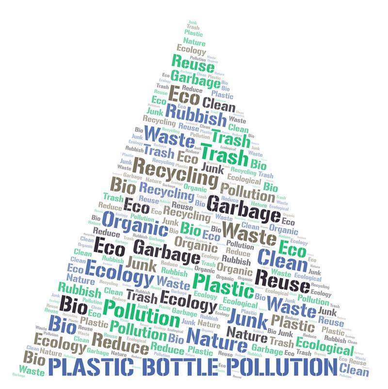 Πλαστικό σύννεφο λέξης ρύπανσης μπουκαλιών διανυσματική απεικόνιση