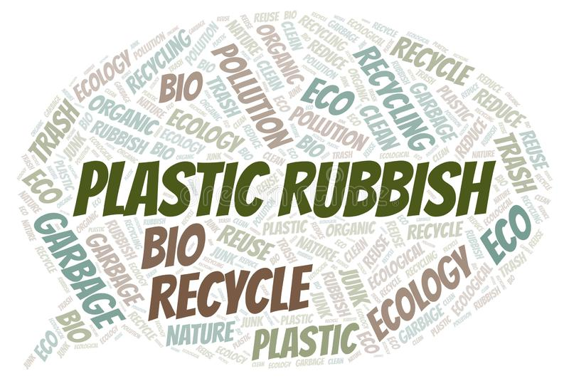 Πλαστικό σύννεφο λέξης σκουπιδιών απεικόνιση αποθεμάτων