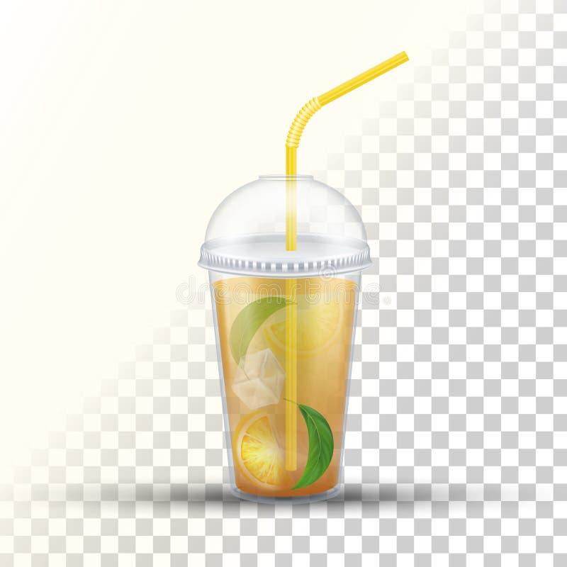 Πλαστικό take-$l*away διανυσματικό τρισδιάστατο φλυτζάνι τσαγιού πάγου διανυσματική απεικόνιση