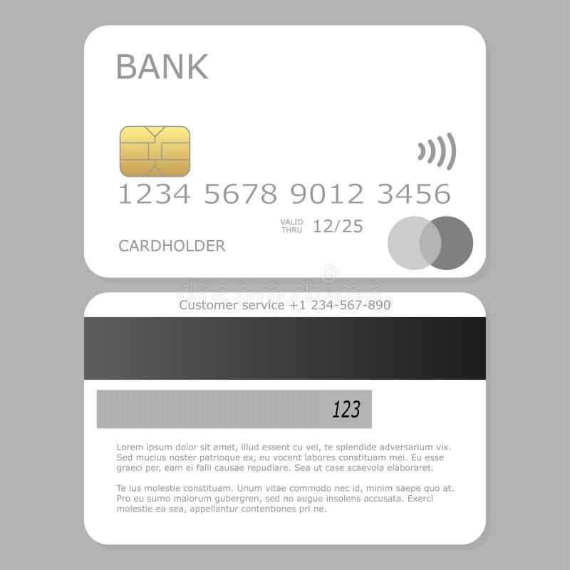 Πλαστό επάνω άσπρο κενό διάνυσμα πιστωτικών καρτών απεικόνιση αποθεμάτων