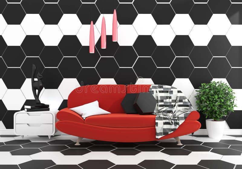 Πλαστό επάνω σύγχρονο καθιστικό σοφιτών με το λαμπτήρα πλαισίων και plnts, κενός άσπρος τουβλότοιχος - το πάτωμα γρανίτη, χλευάζε απεικόνιση αποθεμάτων