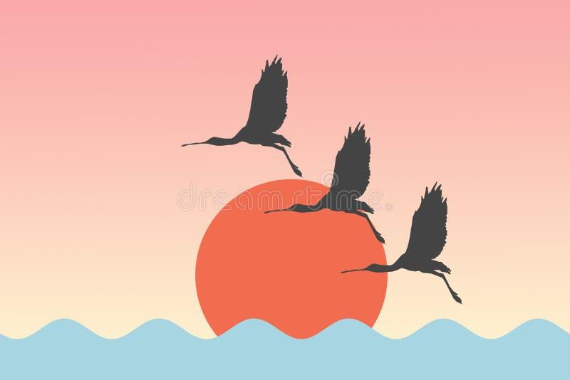 Πλαταλέες τσικνιάδων πουλιών που πετούν πριν από τον ήλιο πέρα από το υπόβαθρο απεικόνισης λιμνών θάλασσας διανυσματική απεικόνιση