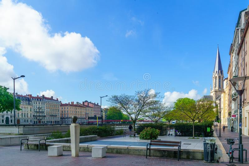 Πλατεία Crepu Benoit, στην παλαιά Λυών στοκ εικόνες