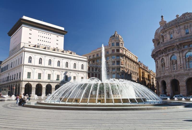 πλατεία de ferrari Γένοβα στοκ φωτογραφίες