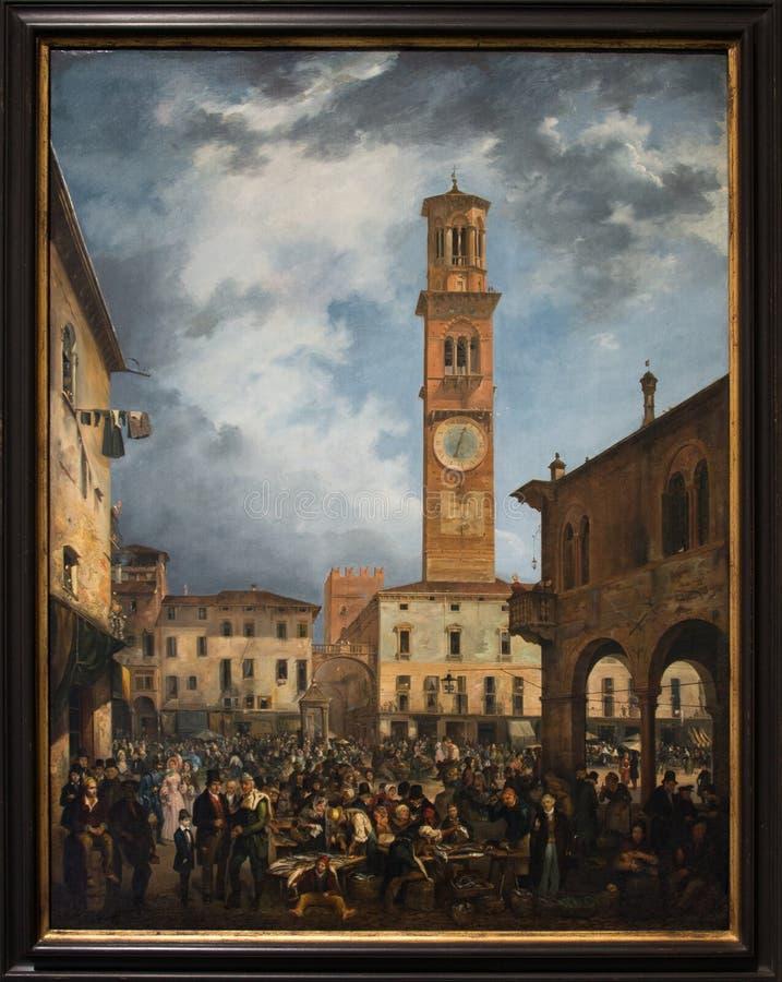 ` Πλατεία Erbe ` 1839 από το detto Ferrarin του Carlo Ferrari στοκ φωτογραφίες με δικαίωμα ελεύθερης χρήσης