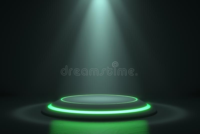 Πλατφόρμα για το σχέδιο, κενή στάση προϊόντων με την πυράκτωση πράσινου φωτός διανυσματική απεικόνιση
