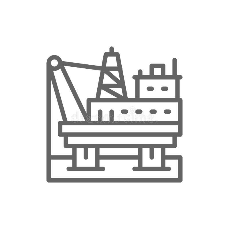 Πλατφόρμα πετρελαίου στη θάλασσα, εγκατάσταση γεώτρησης καυσίμων, εικονίδιο γραμμών αντλιοστασίων ελεύθερη απεικόνιση δικαιώματος