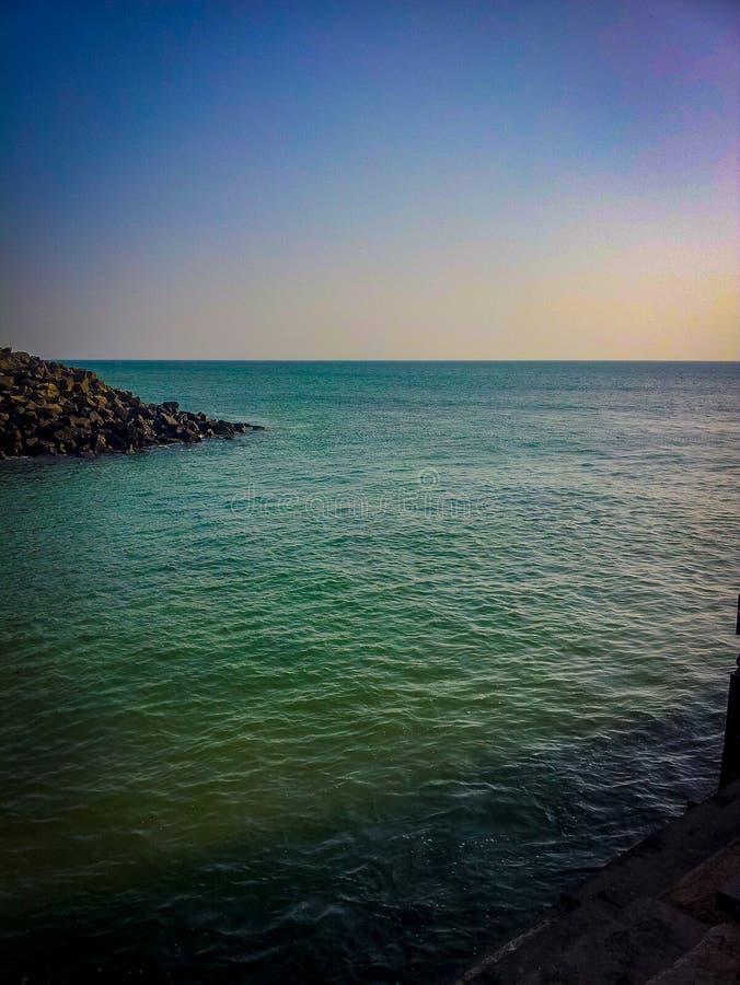 Πλαϊνή όψη παραλίας στην Ινδία Άποψη των παραλιών από το Γκουτζαράτ Ινδική παραλία στοκ φωτογραφία