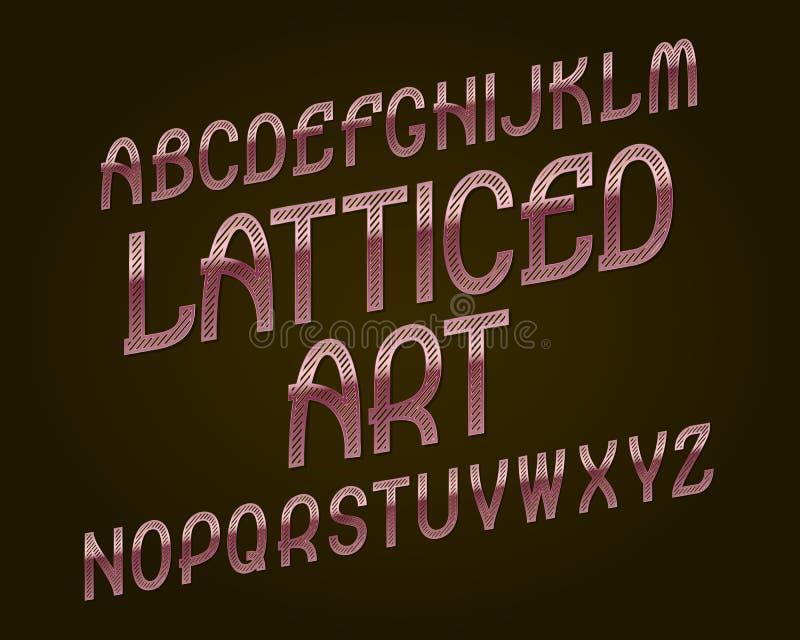 Πλεγμένος χαρακτήρας τέχνης Ρόδινη χρυσή πηγή Απομονωμένο αγγλικό αλφάβητο διανυσματική απεικόνιση