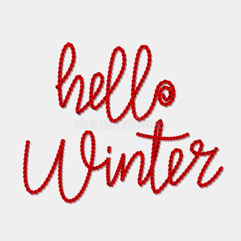 """Πλεκτός χειμώνας κειμένων """"γειά σου """"των κόκκινων νημάτων Έννοια χειμερινών διακοπών διανυσματική απεικόνιση"""