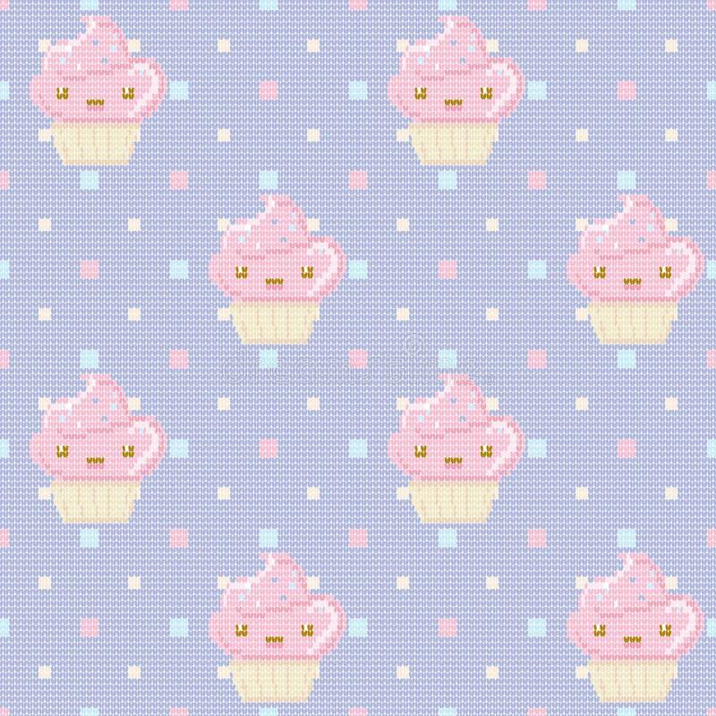Πλεκτό άνευ ραφής σχέδιο με τα cupcakes στο πορφυρό υπόβαθρο σημείων Πόλκα επίσης corel σύρετε το διάνυσμα απεικόνισης διανυσματική απεικόνιση