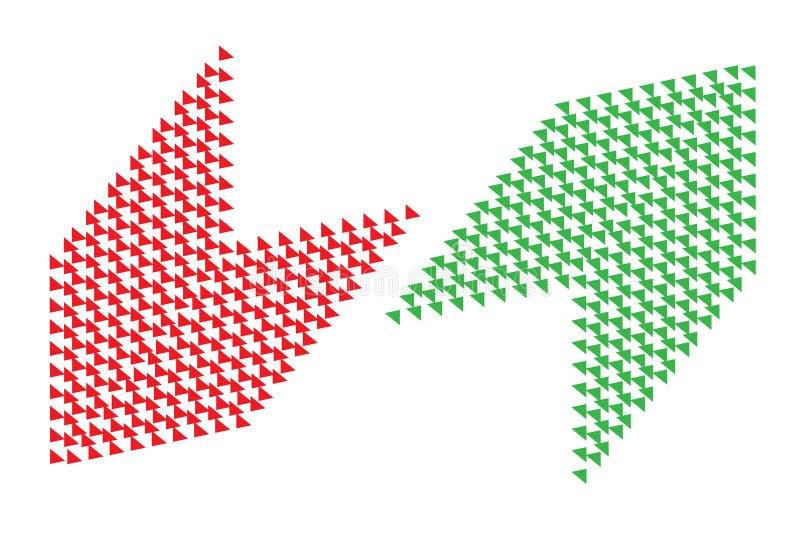 Πλεονεκτήματα - και - κόκκινα αριστερά πράσινα σωστά βέλη ανάλυσης μειονεκτημάτων αγοράς-πώλησης με το διαφανές κενό υπόβαθρο Ένν απεικόνιση αποθεμάτων