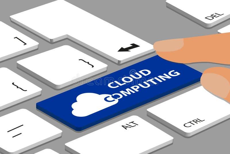 Πληκτρολόγιο με το μπλε κουμπί υπολογισμού σύννεφων - υπολογιστής ή lap-top με τα δάχτυλα - διανυσματική απεικόνιση Editable ελεύθερη απεικόνιση δικαιώματος