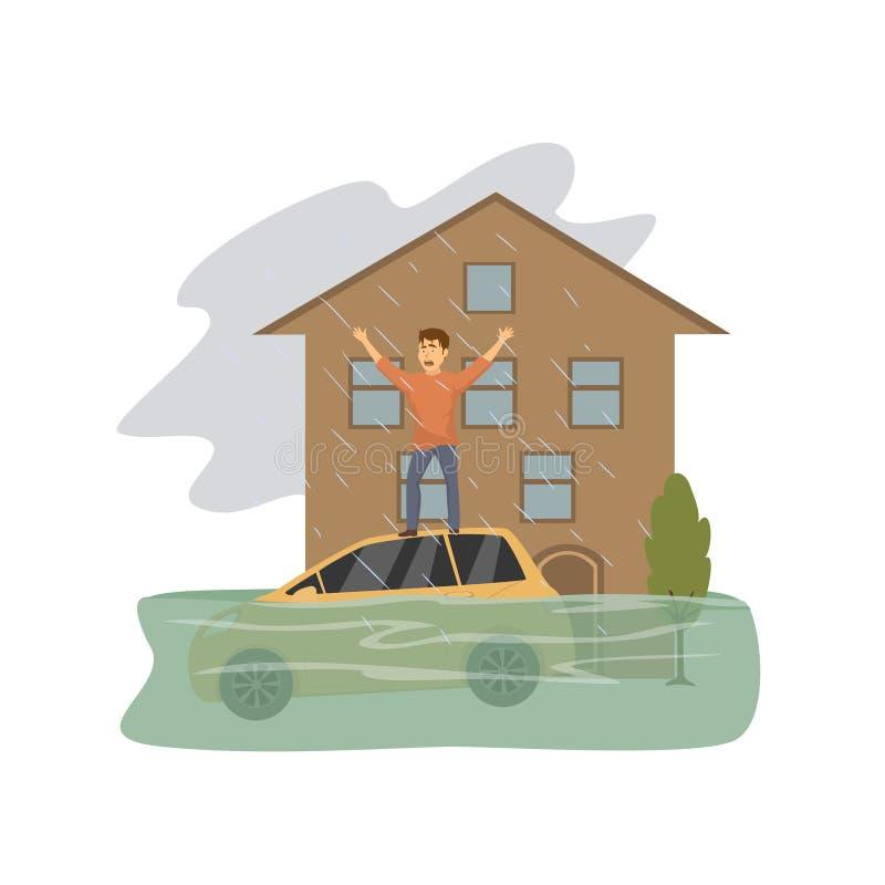 Πλημμυρισμένο σπίτι, άτομο που ζητά τη βοήθεια που στέκεται στη στέγη ενός βυθίζοντας αυτοκινήτου, έννοια φυσικής καταστροφής διανυσματική απεικόνιση