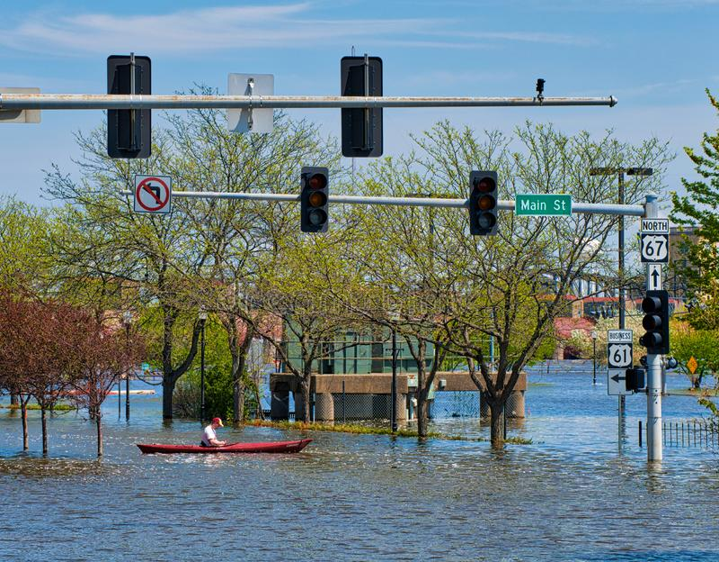 2019 πλημμύρα του Ντάβενπορτ Αϊόβα στοκ εικόνες με δικαίωμα ελεύθερης χρήσης