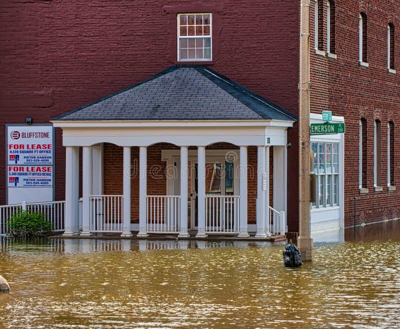 2019 πλημμύρα του Ντάβενπορτ Αϊόβα στοκ φωτογραφίες