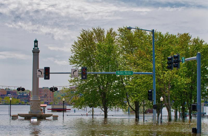 2019 πλημμύρα του Ντάβενπορτ Αϊόβα στοκ φωτογραφία