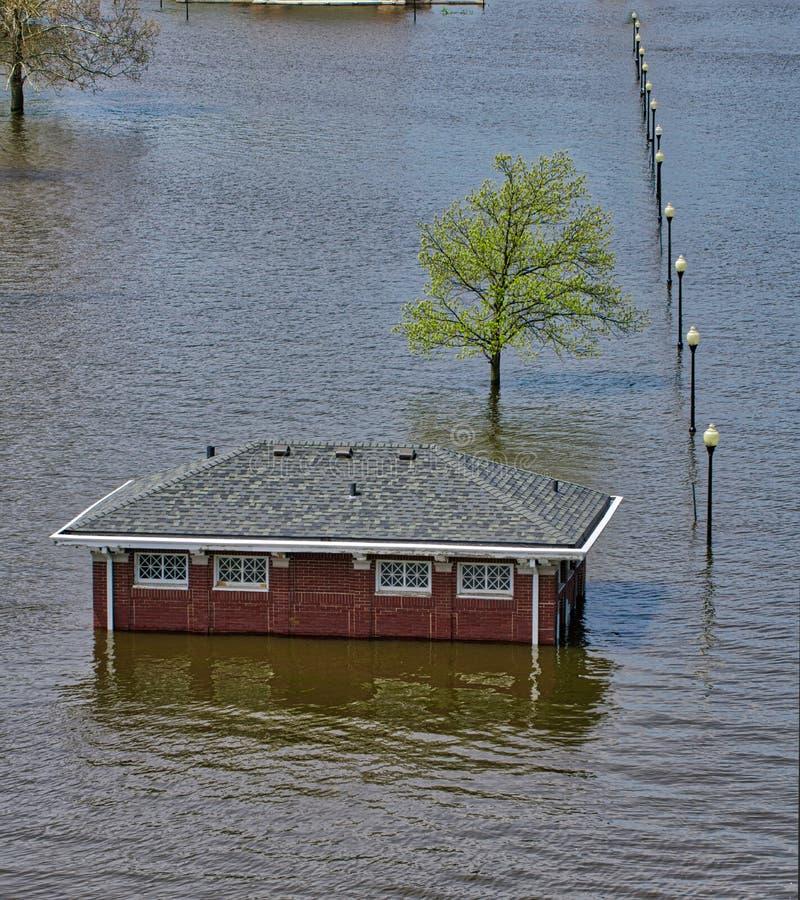 2019 πλημμύρα του Ντάβενπορτ Αϊόβα στοκ εικόνα με δικαίωμα ελεύθερης χρήσης