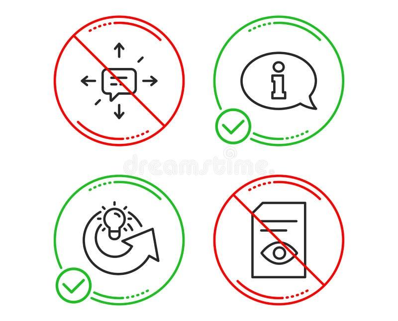 Πληροφορίες, ιδέα μεριδίου και εικονίδια Sms καθορισμένες r Κέντρο πληροφόρησης, λύση, συνομιλία Ανοικτό αρχείο διάνυσμα διανυσματική απεικόνιση