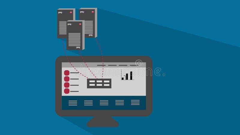 Πληροφορίες κεντρικών υπολογιστών γραφικές με τη σκιά διανυσματική απεικόνιση