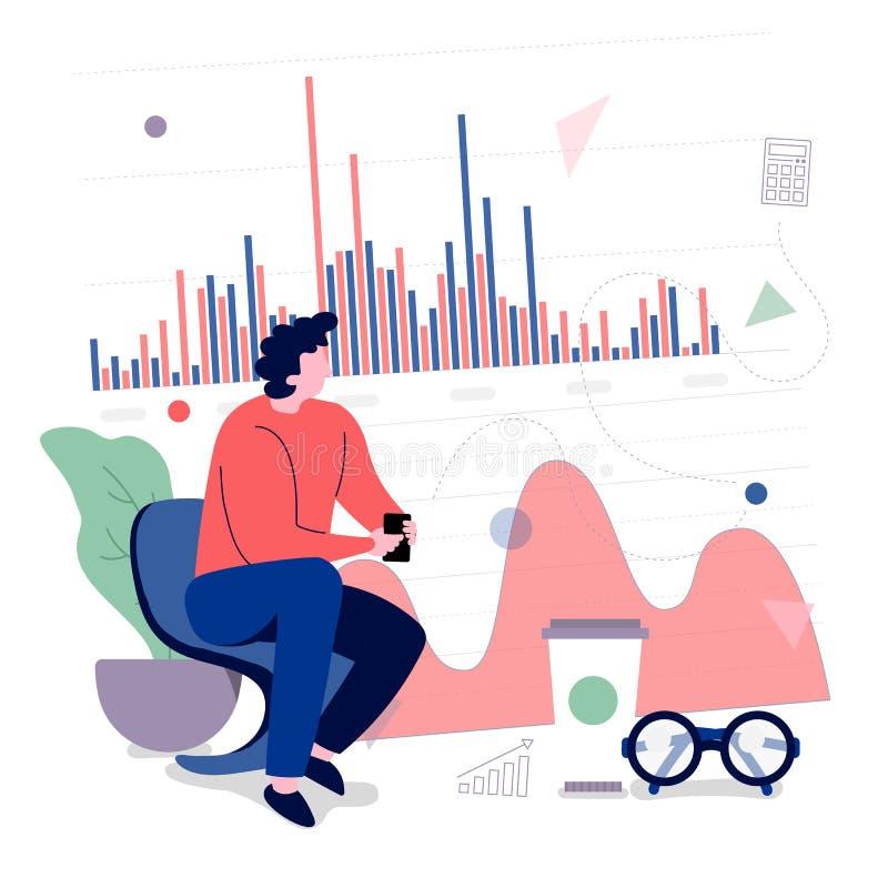 πληροφορίες στοιχείων ανάλυσης εργασίας επιχειρηματιών με το διάγραμμα ε γραφικών παραστάσεων διανυσματική απεικόνιση
