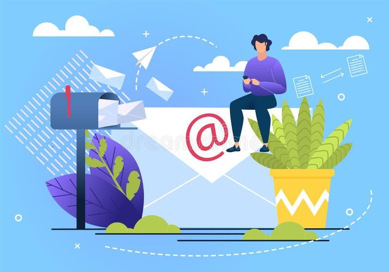 Πληροφοριακή ανταλλαγή αλληλογραφίας αφισών επίπεδη ελεύθερη απεικόνιση δικαιώματος