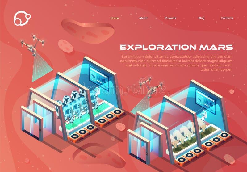 Πληροφοριακό φυλλάδιο Εξερεύνηση Mars διανυσματική απεικόνιση