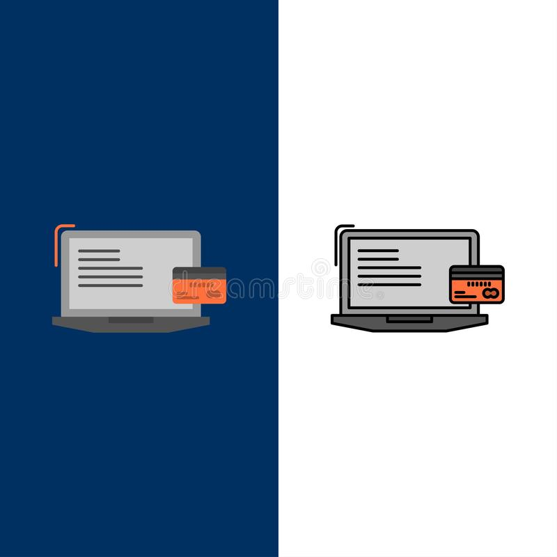 Πληρωμή, επιχείρηση, υπολογιστής, πιστωτική κάρτα, σε απευθείας σύνδεση εικονίδια πληρωμής Επίπεδος και γραμμή γέμισε το καθορισμ διανυσματική απεικόνιση