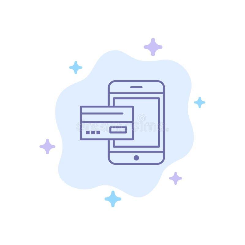 Πληρωμή, τράπεζα, τραπεζικές εργασίες, κάρτα, πίστωση, κινητή, χρήματα, μπλε εικονίδιο Smartphone στο αφηρημένο υπόβαθρο σύννεφων ελεύθερη απεικόνιση δικαιώματος