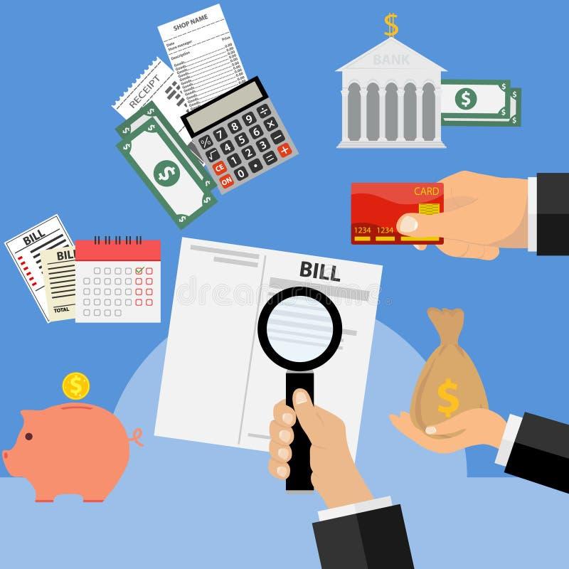 Πληρωμή των παραλαβών, πληρωμή των λογαριασμών Η έννοια της πληρωμής των λογαριασμών ελεύθερη απεικόνιση δικαιώματος