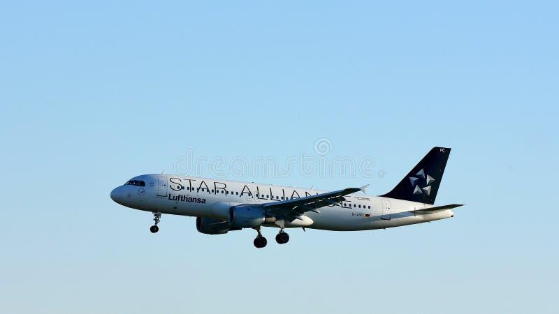 Πλησιάζοντας αερολιμένας αεροπλάνων της Lufthansa συμμαχίας αστεριών στοκ φωτογραφία