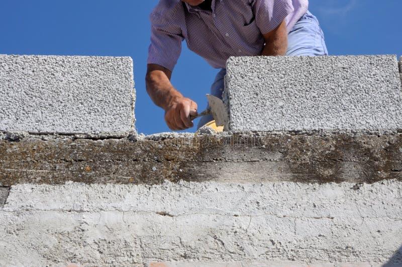Πλινθοκτίστης εργαζομένων κτιστών κατασκευής στοκ φωτογραφία