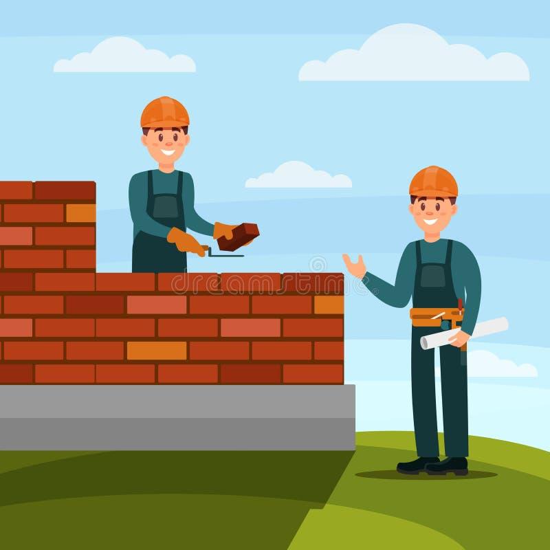 Πλινθοκτίστης εργατών οικοδομών που κατασκευάζει μια πλινθοδομή με το κονίαμα trowel και τσιμέντου, επιστάτης που εποπτεύει την ε απεικόνιση αποθεμάτων