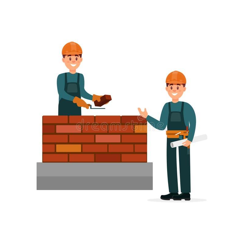 Πλινθοκτίστης εργατών οικοδομών που κατασκευάζει μια πλινθοδομή με το κονίαμα trowel και τσιμέντου, επιστάτης που εποπτεύει τα κι απεικόνιση αποθεμάτων