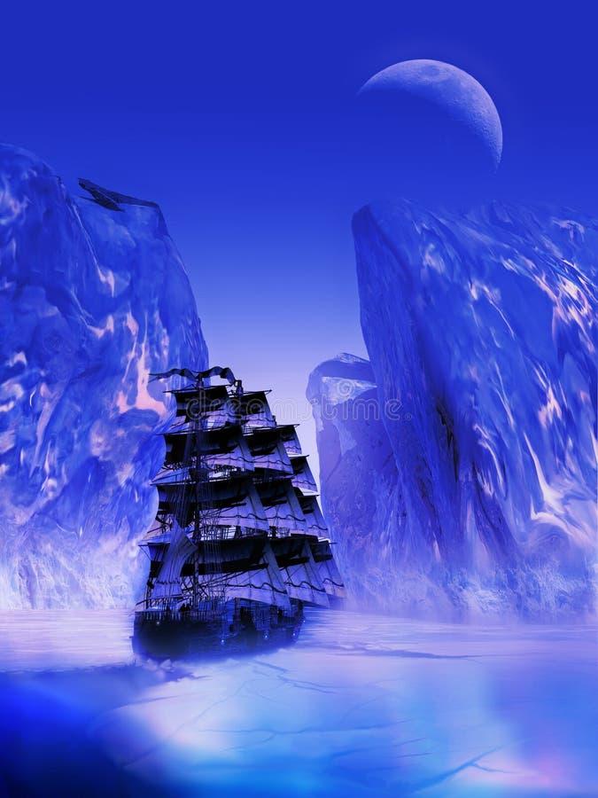 Πλοήγηση μέσω του πάγου και του κρύου διανυσματική απεικόνιση