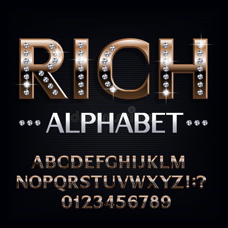 Πλούσια πηγή αλφάβητου Περίκομψοι χρυσοί επιστολές και αριθμοί με τους πολύτιμους λίθους διαμαντιών διανυσματική απεικόνιση