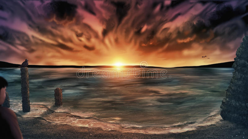 Πλυμένη μακριά παραλία στο ηλιοβασίλεμα - ψηφιακή ζωγραφική στοκ εικόνες