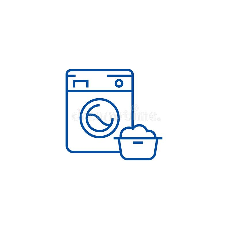 Πλυντήριο, έννοια εικονιδίων γραμμών υπηρεσιών πλυντηρίων Πλυντήριο, επίπεδο διανυσματικό σύμβολο υπηρεσιών πλυντηρίων, σημάδι, π απεικόνιση αποθεμάτων