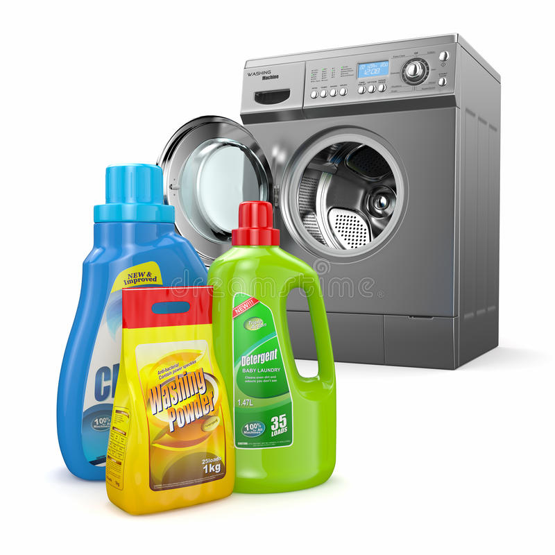 Πλυντήριο και καθαριστικά μπουκάλια διανυσματική απεικόνιση