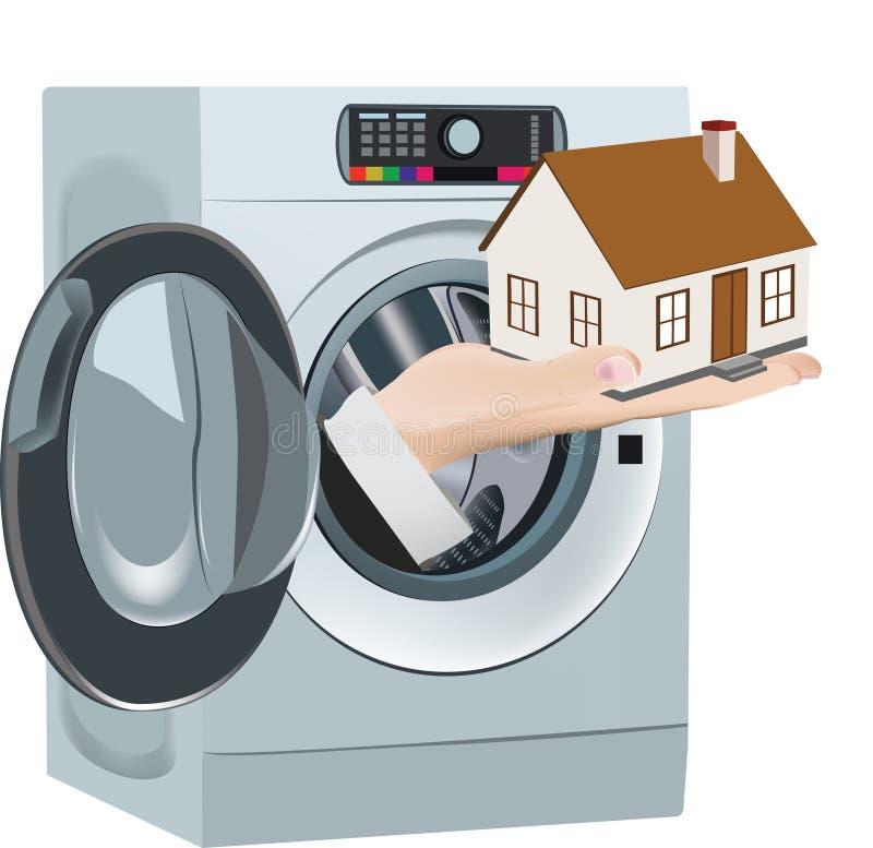 Πλυντήριο που παραδίδει το σπίτι καθαρό διανυσματική απεικόνιση